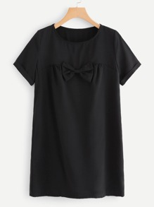 Bow Decoration Plain Dress