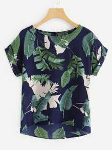 Rolled Cuff Tropical Print Blouse