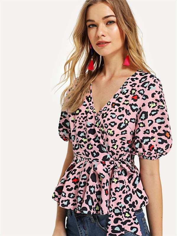 fe4d404d77a Leopard Print Tie Side Surplice Wrap Peplum Top | SHEIN UK