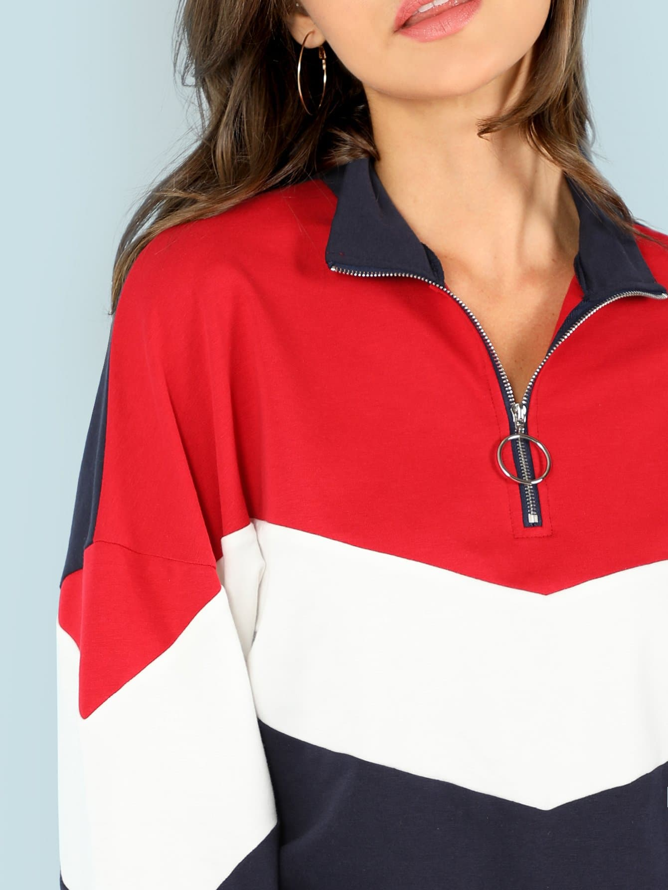 0e25f55d314 O-Ring Zip Front Cut and Sew Sweatshirt