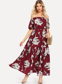 Off-Shoulder Floral Dress