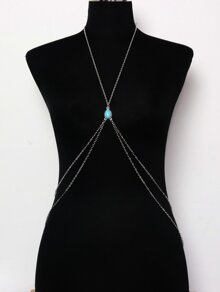 Turquoise Detail Layered Body Chain