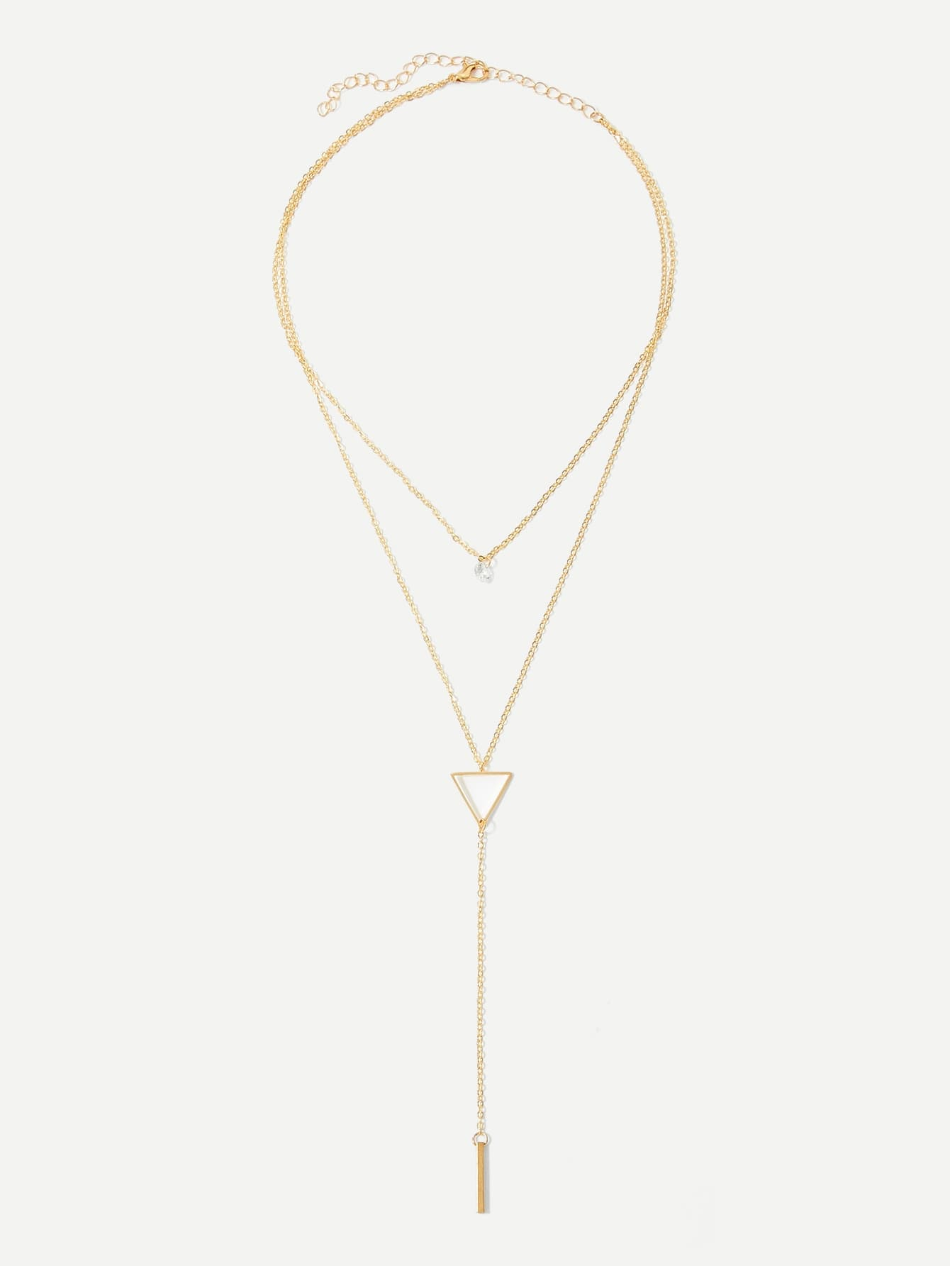 Bar & Triangle Layered Chain Necklace