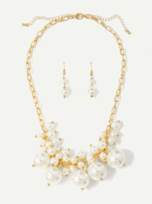 Faux Pearl Chain Necklace & Earrings Set