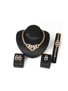 Statement Necklace & Bracelet & Hoop Earrings & Ring