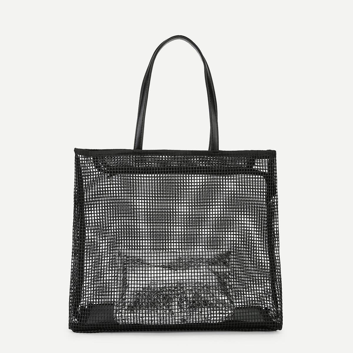 - Cut Out Detail PVC Tote Bag