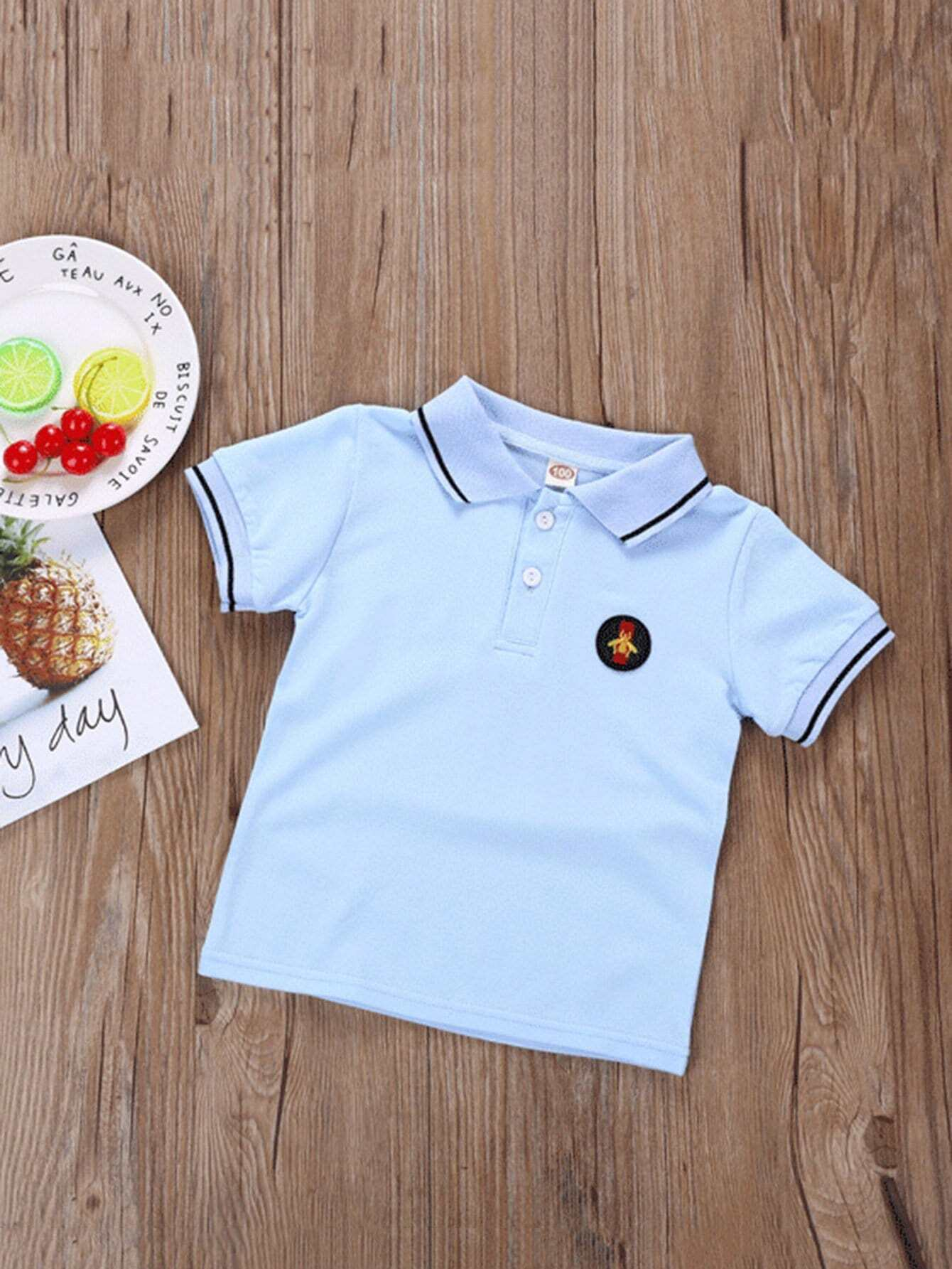 Boys Embroidery Patched Solid Polo Shirt Boys Embroidery Patched Solid Polo Shirt