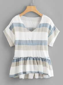 Plus Frill Trim Striped Dip Hem Top