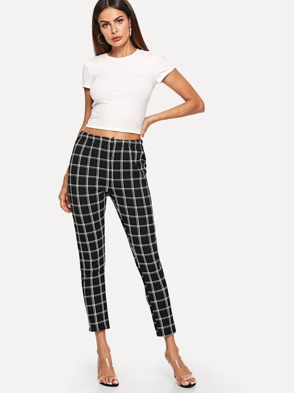 9baf17e15f98 Elastic Waist Checked Trousers   SHEIN UK