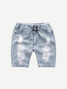 Toddler Boys Roll Hem Destroyed Denim Shorts