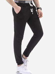 Men Plain Drawstring Joggers
