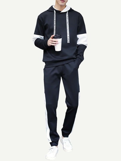 cac7f78a6 ... Guys Contrast Panel Letter Print Hooded Sweatshirt With Drawstring Pants