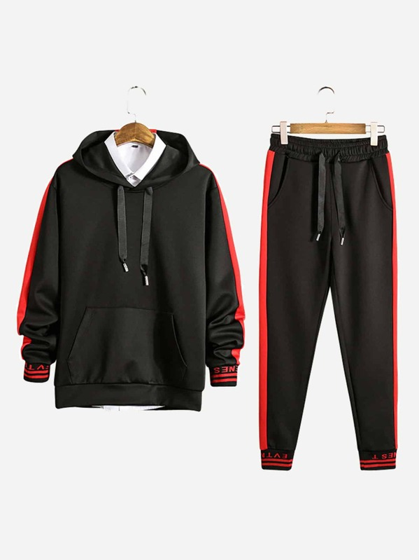 55504f31f Men Contrast Panel Letter Print Hooded Sweatshirt With Drawstring Pants |  SHEIN IN