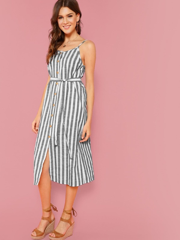 bd1c05f47dfd Button Through Self Belt Stripe Cami Dress   SHEIN