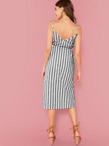 3b131e9a1427 Button Through Self Belt Stripe Cami Dress   SHEIN UK