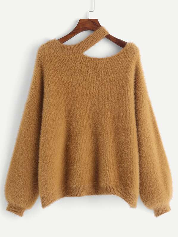 4d0203172162 Cut Out Neck Fuzzy Sweater | SHEIN