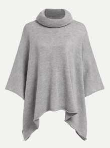Rolled Neck Solid Poncho Sweater