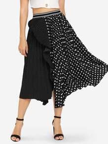 Polka Dot Asymmetric Hem Skirt