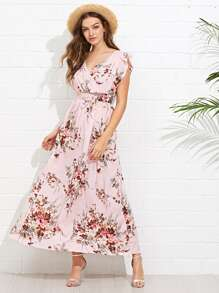 Ruffle Shoulder Surplice Floral Smocked Waist Dress