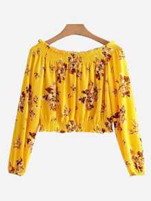 Random Florals Shirred Bardot Top