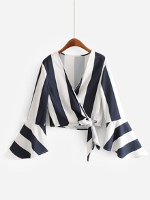 Wide-Striped Flounce Sleeve Wrap Blouse