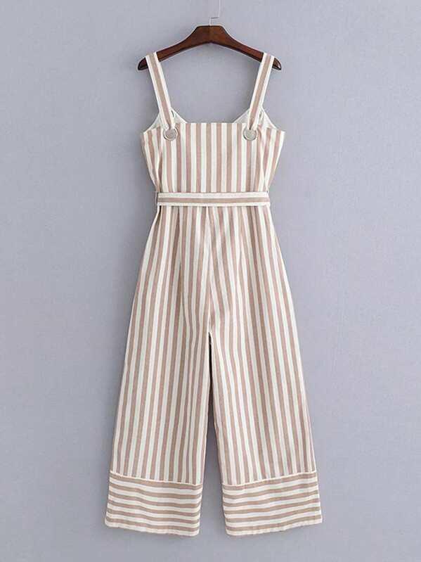 a671d58d956f Contrast Stripe Belted Wide Leg Jumpsuit