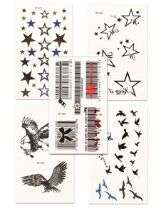 Star & Bird Tattoo Sticker Set 5pcs