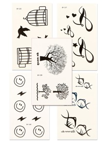 Tree & Fish Tattoo Sticker Set 5pcs