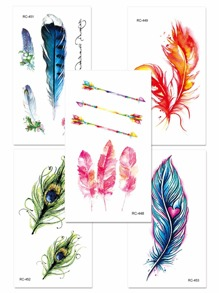 Feather & Arrow Tattoo Sticker Set 5pcs