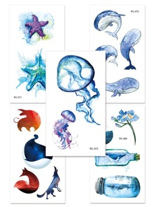 Jellyfish & Whale Tattoo Sticker Set 5pcs