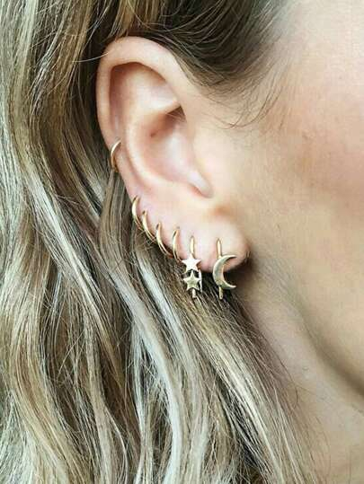 Moon & Star Detail Hoop Earrings 7pcs