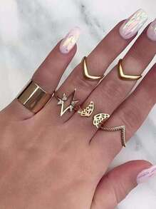 Butterfly Detail Irregular Ring Set 7pcs