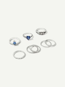 Heart Detail Ring Set 8pcs