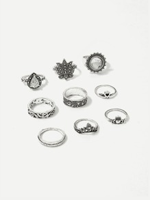 Lotus & Heart Detail Ring Set 9pcs