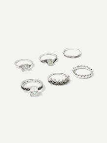 Rhinestone Detail Ring Set 6pcs