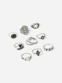 Triangle Detail Ring Set 10pcs