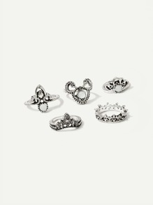 Filigree Detail Ring Set 5pcs