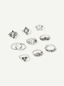 Lotus & Elephant Ring Set 10pcs