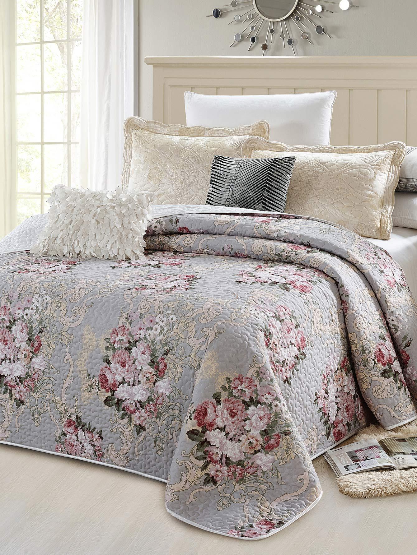 couvre lit imprim fleur french shein sheinside. Black Bedroom Furniture Sets. Home Design Ideas