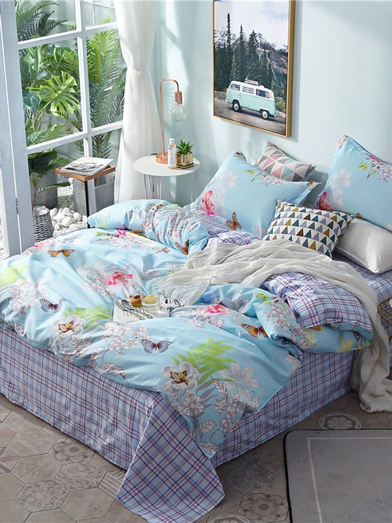 bettbezug mit blumen und karomuster german shein sheinside. Black Bedroom Furniture Sets. Home Design Ideas