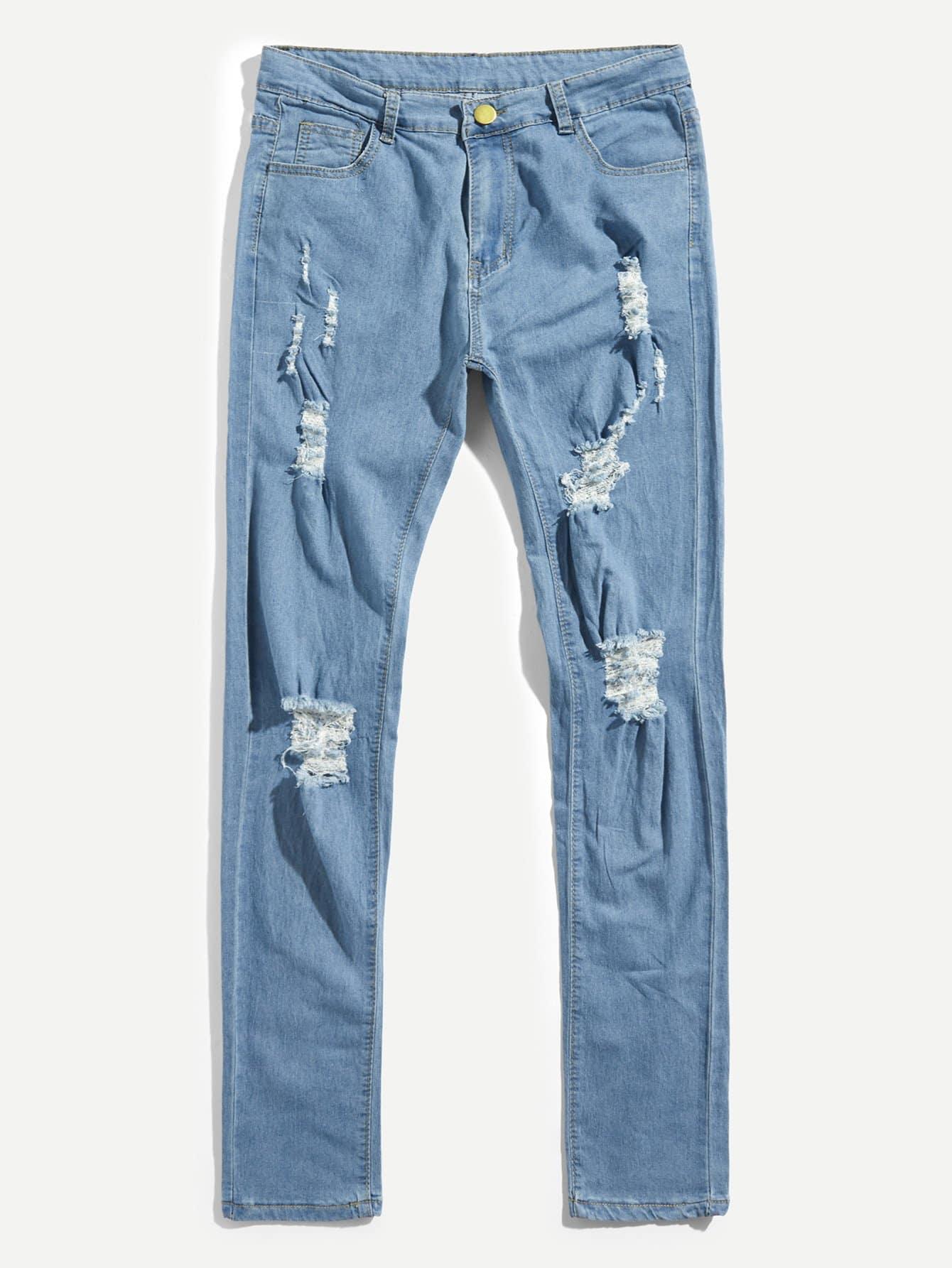 Pantalones Denim Rotos Sencillos De Hombres Romwe