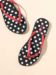 Dot Pattern Toe Post Flip Flops