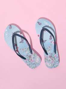 Butterfly Pattern Toe Post Flip Flops