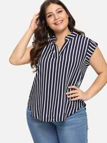Plus Striped V Neck Asymmetrical Blouse