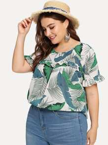 Plus Flounce Sleeve Tropical Print Frill Blouse