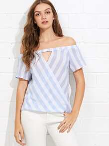 Off Shoulder Cut Out Striped Blouse