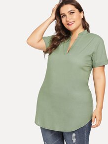 Plus V Cut Neck Curved Hem Blouse