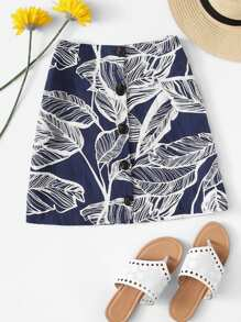Leaves Print Button Front Skirt