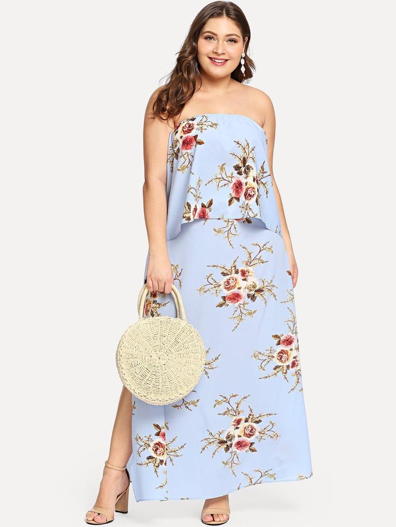 b18e758d Top tubo con estampado floral con falda de talla grande | ROMWE
