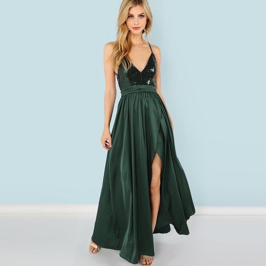 Contrast Sequin Split V-Neck Cami Dress